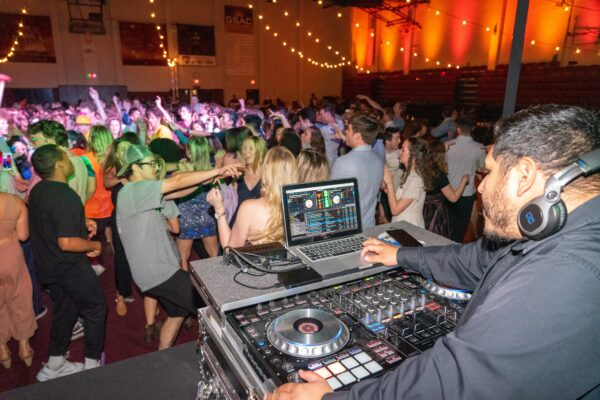 DJ using MacBook